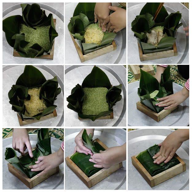 Cách gói bánh chưng vuông bằng khuôn